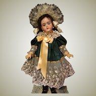Jacquard Dress  Lace Bonnet fits 28inch Doll