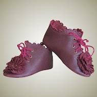 Kid Leather Burgundy Bebe Lace up Boots Shoes French German Doll ~ 3 7/16 inch long & 1 3/8 inch wide ~~