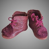 Kid Leather Burgundy Bebe Lace up boots Shoes German French Doll  ~ 2 1/2 inch long & 1 inch wide ~~