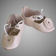 "Kid Leather Beige Shoes German or French Doll ~~ 2 5/8"" long & 1"" wide"