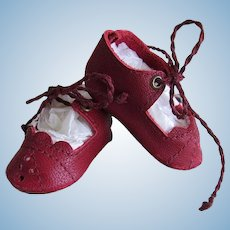 "Kid Leather Red  Shoes in a Small Size German or French Doll ~~ 1 7/8"" long & 7/8"" wide"