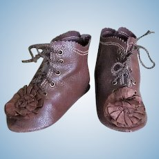 Kid Leather Brown Bebe Lace up shoes boots ~ 3 3/4 inch long & 1 1/2 inch wide ~