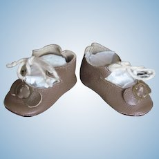 """Kid Leather Light brown Shoes German or French Doll ~~ 1 7/8"""" long & 7/8"""" wide"""