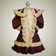 Lovely fine burgundy silk  Dress for 27-28 inches Antique German Doll, French Bebe or Rerpo doll.
