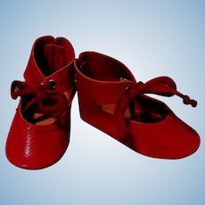 "Red Soft Leather Doll Shoes for your German or French Doll ~~ 2"" long & 7/8"" wide"