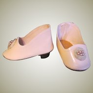 "French or German  Fashion Doll Heeled  Slippers Shoes Pale Pink Leather  ~~ 2 1/2""long & 1 1/4"" wide ~~"