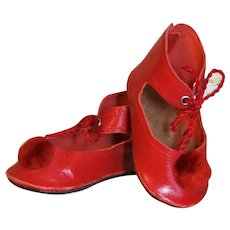 "Red Soft Leather Doll Shoes with pom pom  German, French or reproduction Doll ~~ 2 ¾"" long & 1 3/8"" wide"
