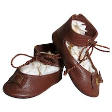 "Soft Brown Leather Doll Shoes for your German or French Doll ~~ 3 ¼"" long  x 1 ½"" wide"