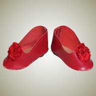 "French or German Fashion Doll Red Leather Heeled Slipper / Shoes ~~ 2 1/4"" long & 1 1/8"" wide ~~"