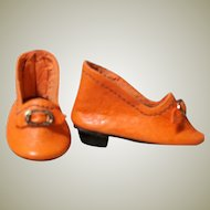 "French or German Fashion Doll Heeled Orange Leather Slippers Shoes. ~~ 1 3/4"" long &  7/8"" wide ~~"