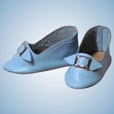 "French or German Fashion Doll  Soft Blue Leather Slippers Shoes ~~ 1 7/8"" long & 7/8"" wide ~~"