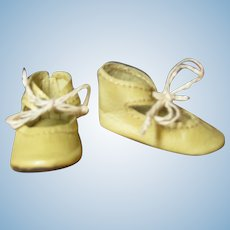 "French or German Doll Ivory Leather  Shoes ~~ 1 1/2"" long & 3/4"" wide ~~"