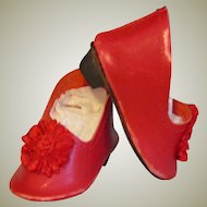 "French or German Fashion or BJB  Doll Heeled Red Leather Slippers Shoes ~~ 2 3/8"" long & 1 1/8"" wide ~~"