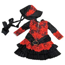 Black silky and Red lace Dress Bonnet Fits French or German Doll about 17-19 inch tall