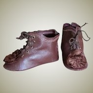 Kid Leather Brown French German Bebe Lace up boots shoes ~~ 3 1/2 inch long & 1 1/4 inch wide ~~