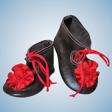 """Soft Brown Leather Doll Shoes for your German or French Doll ~~ 3 1/2"""" long x 1 3/4"""" wide"""