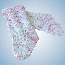 """Seamless Knitted Cotton Socks with heel for Antique French or German Doll. They are 2"""" long and 3"""" high"""