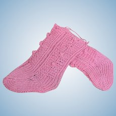 """Seamless Knitted Pink Cotton Socks with heel for Antique French or German Doll for a doll with foot around 2"""" long."""