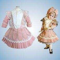 "Pink Taffeta Dress, Bonnet fits 19 -20"" German or French Doll"