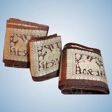 Old Vintage Pure Silk  Embroidered Border Remnants for doll dress 11 yards+