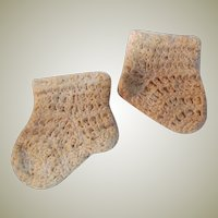 """Crocheted Pair Socks  For a big doll or baby doll Antique French or German Doll 3 1/2"""" long and 3"""" high"""