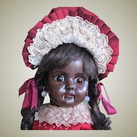 "22"" Rare German Mulatto Brown Black Complexioned Bisque Head Doll Model 224 Bahr and Proschild."