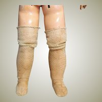Antique Commercial Made Ecru Silk Long Doll Socks Stockings ~~   2 inch foot long  by 11 inch high