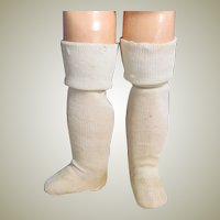 "Pair of Ecru Doll Socks Stockings for Antique French German Doll 2 3/4"" Foot"