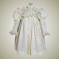 Vintage eyelet off white dress for a big Doll around 28inch tall
