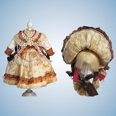 """Silk Dress, Jacket and Bonnet Fits 23"""" French Bebe Jumeau Steiner Doll"""