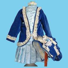 """Velvet Silk Doll Costume Jacket Dress Bonnet fits 27-29"""" French Bebe or German doll"""