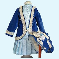"Velvet Silk Doll Costume Jacket Dress Bonnet fits 27-29"" French Bebe or German doll"