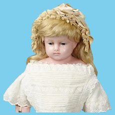 "21"" Montanari English poured wax child ~ Gorgeous blue glass eyes ~ Original costume ~ 1870ca+"