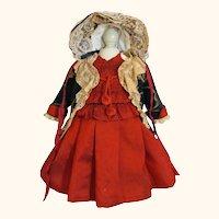 "Silk Velvet Dress Jacket Bonnet 23"" Antique French Eden Bebe Jumeau DEP Simon Halbig"