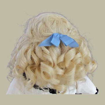 "Mohair Sunny Blond Wig French Bebe German Doll ~~ Head circumference 9 1/4"" -9 3/4"""