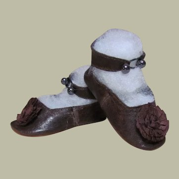 "Brown Patent Leather Shoes for your German Doll or French Bebe  ~~ 3 1/4"" long by 1 1/2"" wide ~~~~ Please contact for an invoice ~~~"