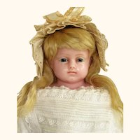 "21"" English Poured Wax Child Doll resembles Montanari ~ Gorgeous blue glass eyes ~ Original costume ~ 1870ca+ ~~ Layaway~~Please contact for an invoice ~"