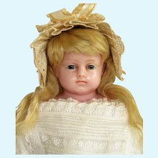 """21"""" English Poured Wax Child Doll resembles Montanari ~ Gorgeous blue glass eyes ~ Original costume ~ 1870ca+ ~~ Layaway~~Please contact for an invoice ~"""