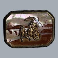 Antique Chinese Gilt Brass Rickshaw Pagoda Scene Brass Mother of Pearl Brooch Signed