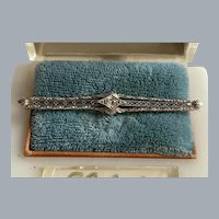 Art Deco 14K White Gold Diamond Filigree Brooch Pin