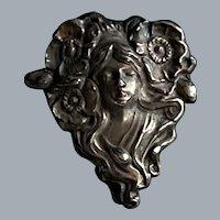 Antique Sterling .925 Art Nouveau Female Nymph Floral Pin