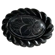 Antique Mourning Whitby Jet Carved Floral Brooch