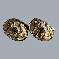 Antique Victorian Gold Filled Center Rhinestone Anchor Naval Cufflinks