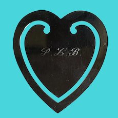 Tiffany Sterling Heart Shape Book Page Mark