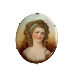 Victorian Hand Painted Female Portrait Porcelain Brooch