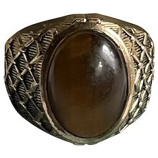Art Deco Tigers Eye Gold Filled Ring Signed ESPO