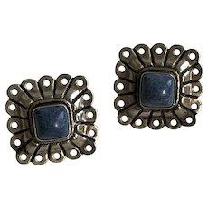 Vintage Native American Richard Begay Denim Lapis Sterling Silver Post Earrings