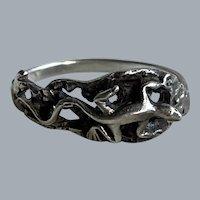 Vintage Sterling Silver Chameleon Figural Ring