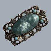 Victorian Blue Czech Glass Brooch C Clasp