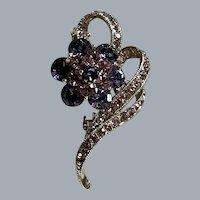 Vintage Purple & Paste Rhinestone Flower Brooch